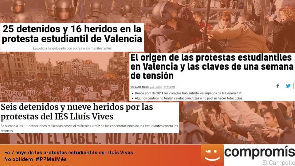 Set anys de les protestes del IES Lluis Vives en Valencia